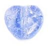 Glass Bead Cracked 8mm Heart Strung Light Sapphire Strung